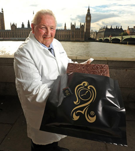 Brian Sollitt, with a giant After Eight mint