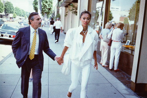 1980's image of shoppers on Rodeo Drive, Beverly Hills