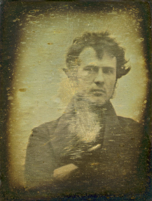 Robert Cornelius, self-portrait; believed to be the earliest extant American portrait photo