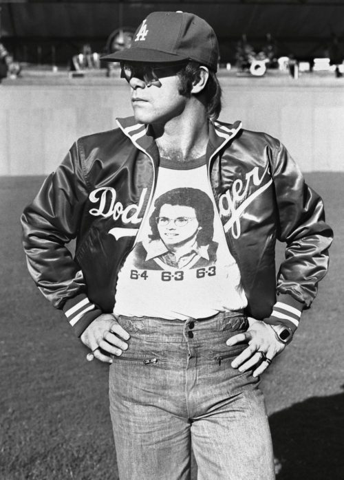 English singer and songwriter Elton John on the day he performes at Dodger Stadium in Los Angeles, 1975.