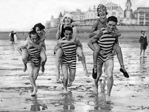 striped bathing suits