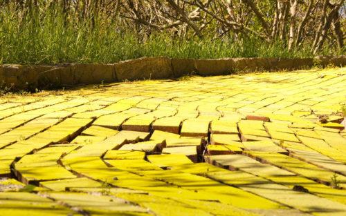 yellow broke road